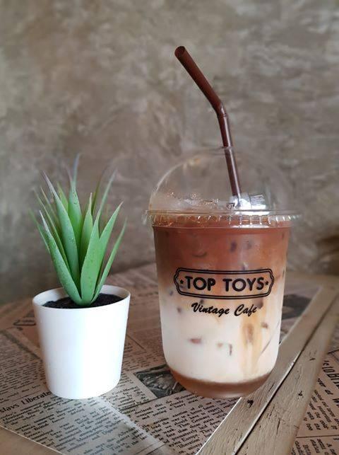 สกรีนแก้วกาแฟ ร้าน  Top Toys