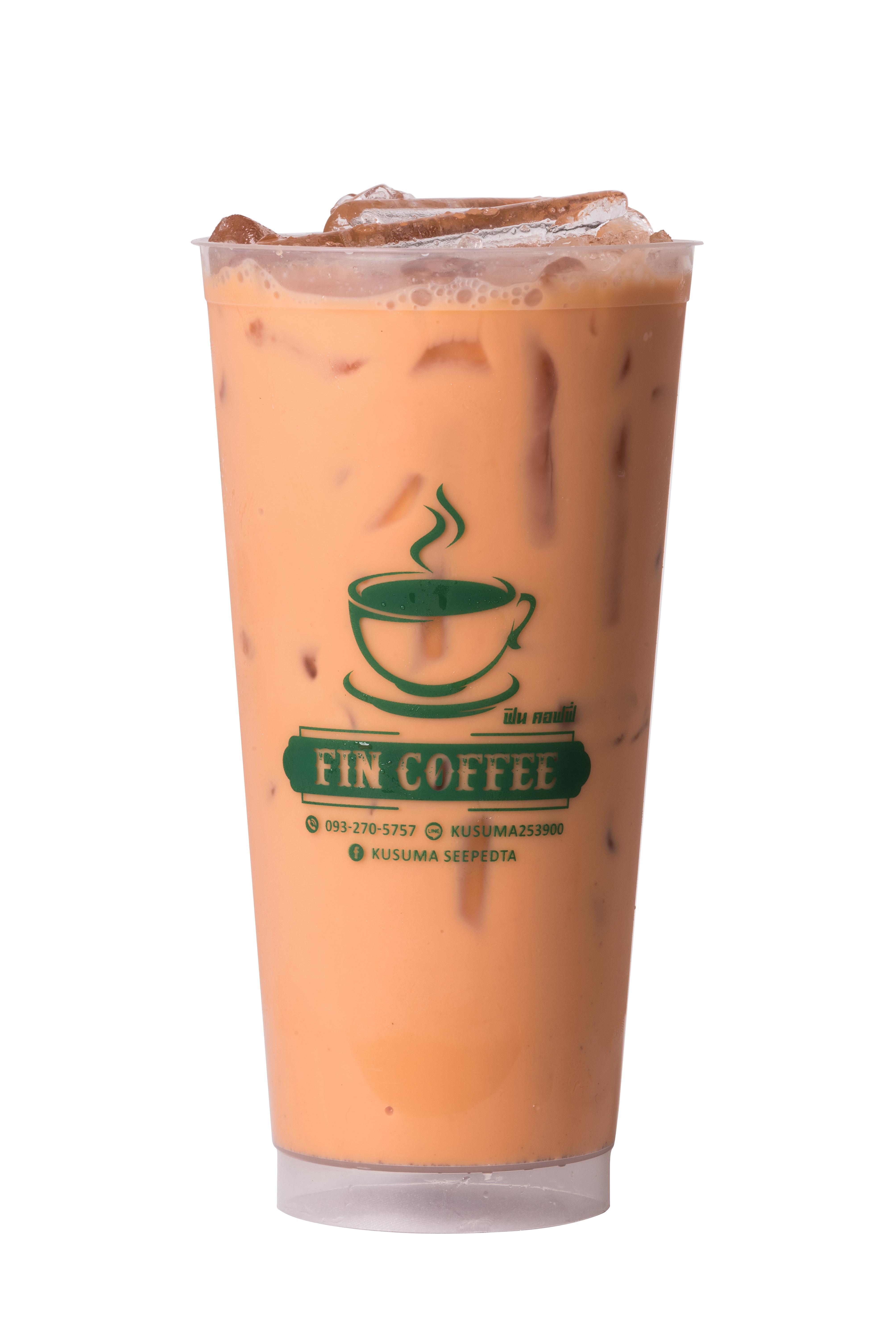 สกรีนแก้วกาแฟ ร้าน  Fin Coffee